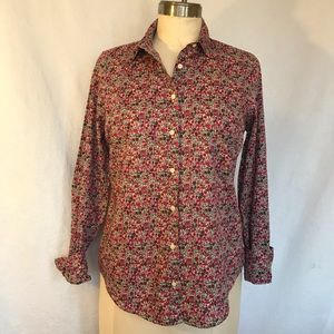 J Crew liberty art fabric 8 button down blouse